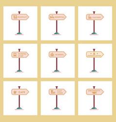 assembly flat icons university kindergarten school vector image