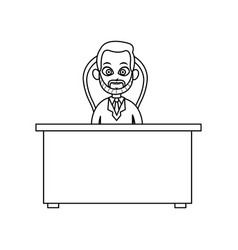 doctor man working desk chair consult line vector image