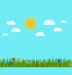 Spring green grass and flowers landscape vector