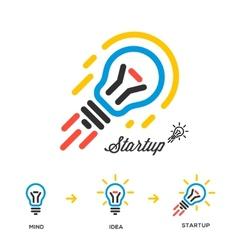 Start up business concept network bulb-rocket vector image