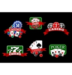 Casino poker jackpot and roulette icons vector