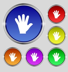 Hand icon sign round symbol on bright colourful vector