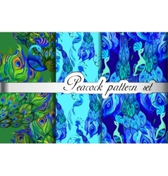 Green blue peacock feathers abstract seamless vector