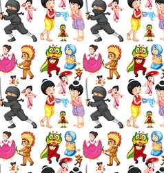 Seamless children from different cultures vector