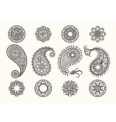 Henna tatoo paisley icons set vector