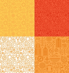 seamless patterns with linear icons and signs vector image