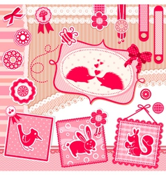 romantic scrapbooking set vector image