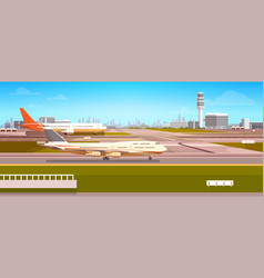 Airport terminal with aircraft flying plane taking vector