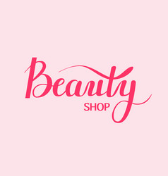 Beauty shop digital calligraphy vector