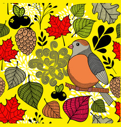 Black and with bird on the branch and autumn vector