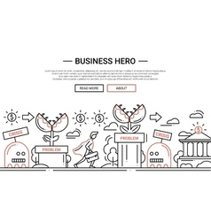 Business hero - line design website banner temlate vector