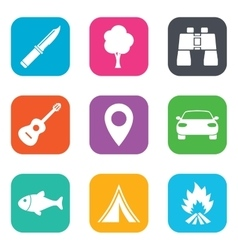 Camping tourism icons fishing guitar music vector