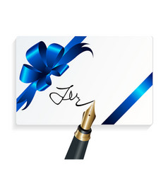 card with blue gift bow and signing with a vector image