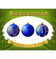 Christmas decorations Collection of blue balls vector image vector image