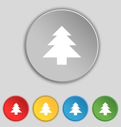 Christmas tree icon sign symbol on five flat vector