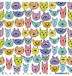 Colorful cute cat pattern vector image