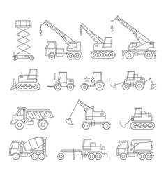 Construction vehicles objects line set vector