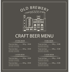 craft beer menu with brewery building vector image vector image