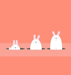 Cute big fat white easter rabbit vector