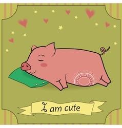 Cute sleeping pig vector