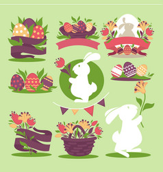 easter eggs and bunny rabbit holding spring vector image vector image