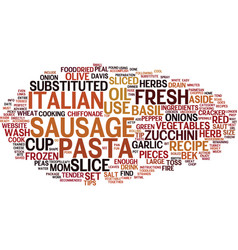 Fire cracker italian sausage pasta text vector