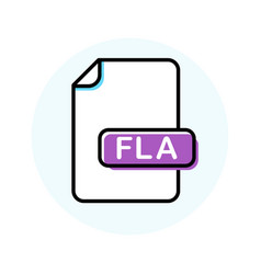 Fla file format extension color line icon vector
