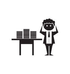 Flat icon in black and white office worker vector