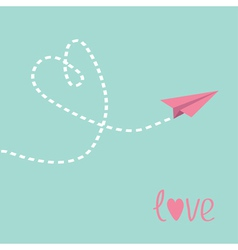 Flying paper plane Heart in the sky Love card vector image vector image