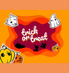 Funny halloween paper cartoon origami background vector