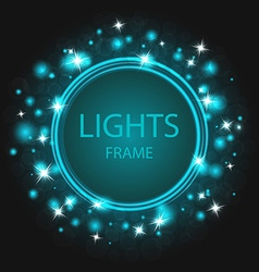 Glittering frame blue background glowing stars and vector
