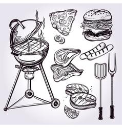 Grill food set line art vector image
