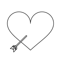 Heart with arrow love symbol outline vector