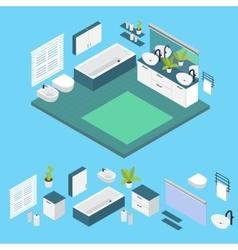 Isometric bathroom layout vector