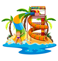 Little boy playing waterslide vector