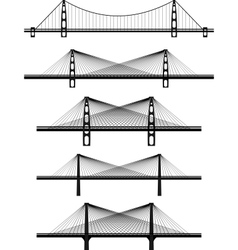 metal cable suspension bridges vector image