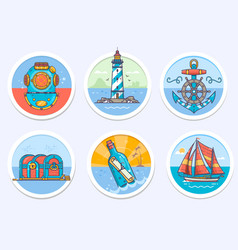 nautical sailing marine and more vector image vector image