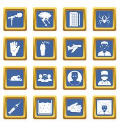 Phobia symbols icons set blue vector