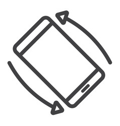 rotate smartphone line icon web and mobile vector image vector image