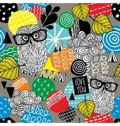 Seamless pattern with cute doodle owls and design vector image