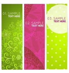 Set colorful 3 banners with abstract trees and vector image