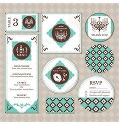 Set of retro wedding cards vector