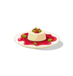 Traditional italian panna cotta vector