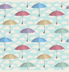 umbrella seamless pattern cloudy sky season vector image