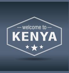 Welcome to kenya hexagonal white vintage label vector