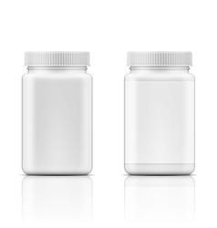 White square plastic bottle for pills vector