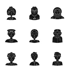 People of different profession set icons in black vector