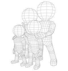 Puppet 3d familly vector