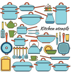 kitchen utensils colorful icons set vector image