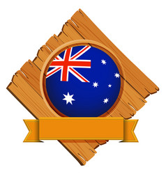 Australia flag on round button with banner vector